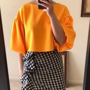 NWT Topshop Orange Puff Sleeve Top